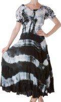 Amazon.com: AA632 - 2-Tone Tie Dye Sleeveless Smocked Top Guazy Long Dress - Blue/One Size: Clothing