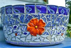 Blue  White Cottage Pot by BarbsCottage on Etsy