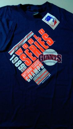 7ac9f7950 Details about NEW - Vintage 80's MLB Baseball Tee t-shirt Blue XL '89 world  series GIANTS RARE