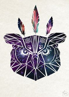 geometric owl.....by society6 - I would skip the feathers and it would be awesome!