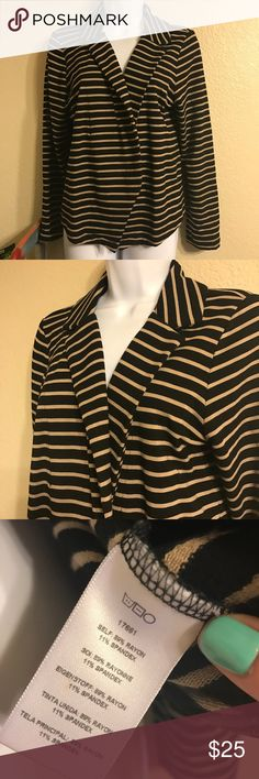 """Dolan striped casual blazer Like new Dolan for Anthropologie, left coast collection casual rayon and spandex blend striped sport blazer. Tan and black stripes, fold over front without closure. Approx measurements: 16"""" shoulder to shoulder laying flat and 21"""" long from top of shoulder to bottom hem. Size medium. Anthropologie Jackets & Coats Blazers"""