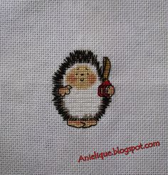 cute hedgehog, scissors, hairstylist, cross stitch
