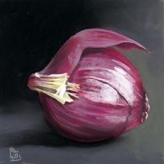 Red Onion time lapse painting, painting by artist Ria Hills