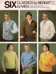 Bernat 147 Six Classics for Men Knitting Pattern Sweater Vest Sport Worsted 1979 #Bernat #KnittingPatterns