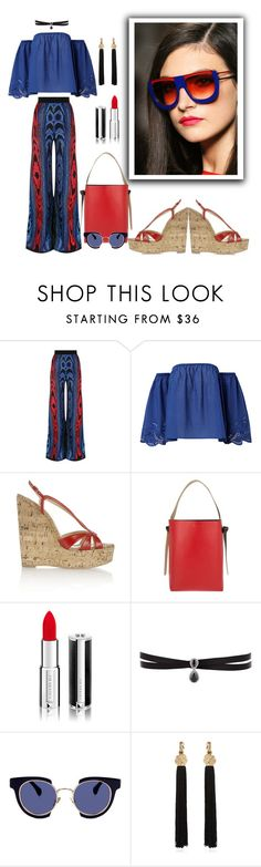 """""""Untitled #495"""" by susans-sg ❤ liked on Polyvore featuring Balmain, Christian Louboutin, CÉLINE, Givenchy, Fallon, Kaleos and Yves Saint Laurent"""