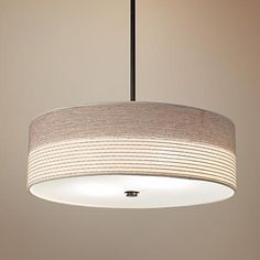 """250   Fabric Shade with Bronze 20"""" Wide Pendant Light, 3 - 60w"""
