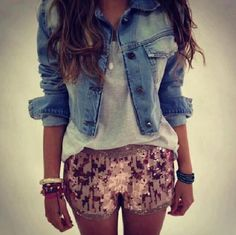 Sparkly shorts to dress up a cute jacket!