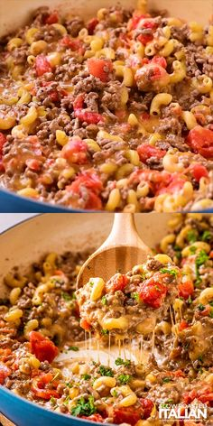 One Pot Cheeseburger Macaroni - This dish is loaded with flavorful seasoned ground beef, tender pasta, and gooey cheese! It is not only packs a ton of flavor but can be made in one pan from start to finish. Pasta With Ground Turkey, Ground Turkey Meat Recipes, Recipes With Ground Beef Videos, Ground Italian Sausage Recipes, Ground Turkey Casserole, Ground Beef Pasta, Ground Beef Dishes, Ground Beef Recipes For Dinner, Healthy Ground Turkey