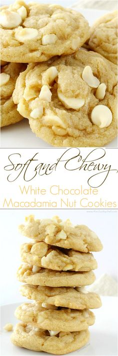 The ultimate white chocolate macadamia nut cookies. baked to soft and chewy perfection! The ultimate white chocolate macadamia nut cookies. baked to soft and chewy perfection! Cookie Desserts, Just Desserts, Delicious Desserts, Dessert Recipes, Yummy Food, Baking Cookies, White Desserts, Macadamia Nut Cookies, Chocolate Macadamia Nuts