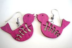 Pink Magenta Wooden Bird Earrings by EridaneasBoutique on Etsy