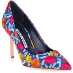 bb90 Blue Flower Embroidered Pump ($790) ❤ liked on Polyvore featuring shoes, pumps, blue, stiletto shoes, pointed toe high heel pumps, pointy-toe pumps, pointy toe stiletto pumps and blue stilettos #stilettoheelspointed