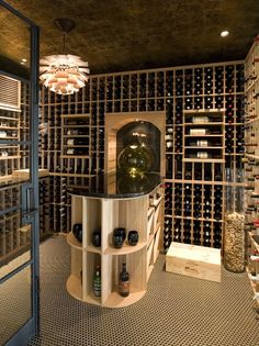 pine wood built in cabinet bottle storage wine cellar custom design - Home Wine Cellar Design Ideas