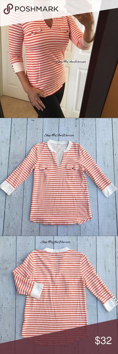J. Crew orange & white striped mandarin top Super cute orange and off white J. Crew striped top with 3/4 sleeves and cute button detail. Has hook/eye closure at v-neck, but shown on me fully open. Great condition. Please read my bio regarding closet policies prior to any inquiries. J. Crew Tops Tees - Long Sleeve