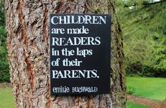 """Perfect for a child's room or reading area.  Also would be so pretty in a family room next to a book shelf.  12x16  """"Children become readers..."""" Quote by Emilie Buchwald Canvas created by Houseof3"""