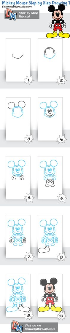 Mickey Mouse Step by Step Drawing Tutorial http://drawingmanuals.com/manual/disneys-mickey-mouse-step-by-step-drawing-tutorial/ #drawing #toddlers #cartoons #simple