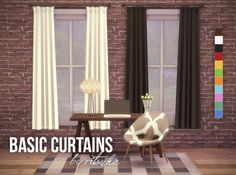 ritsuka-sims:I did a quick recolor of the serenity curtains by Severinka. It's a nice simple set. I used Veranka's color palette because I enjoy the maxis-match feel it has.Download Here Hope you all enjoy these!