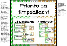 Prionta sa Timpeallacht - Glas, bán, oráiste Irish Language, Orange Chevron, Teaching Resources, Classroom, Glass, Irish People, Irish, Learning Resources