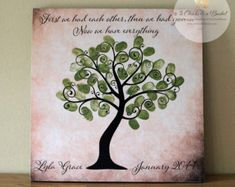 Baptism Fingerprint Tree Sign Baptism Or Christening Guest Fingerprint Tree, Guest Book Alternatives, Craft Stores, Christening, Hearts, Sign, Drawing, How To Make, Handmade