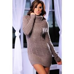 Sexy long sleeve cable knit mini sweater dress