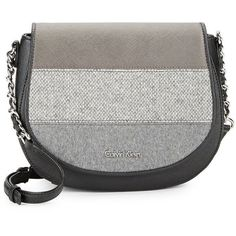 a4d4bae8874 Calvin Klein Textile-Striped Leather Crossbody Bag ( 158) ❤ liked on  Polyvore featuring