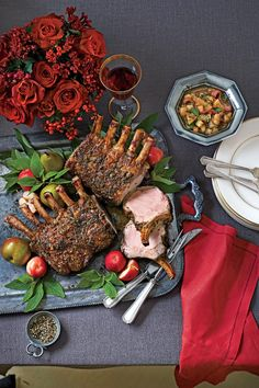 These mouthwatering Sage-Crusted Pork Racks topped with a spiced Pear Chutney are the perfect main dish for your holiday dinner. Have your butcher French the bones of your pork loin roasts for a more elegant presentation. Easy Holiday Recipes, Easy Appetizer Recipes, Entree Recipes, Pork Recipes, Dinner Recipes, Christmas Recipes, Christmas Dinners, Christmas Goodies, Christmas Stuff