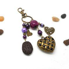 A parfumer!!! bijou de sac bronze coeurs, perles ton violet