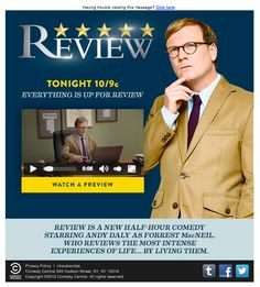 "Comedy Central included a preview of the new comedy, ""Review,"" in this email. The video with audio played directly in the inbox without the need to open in an external browser or player. #emailmarketing #video #media"