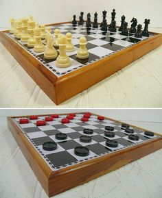 Vintage Metal Chess Board in Wooden Travel Case by DivineOrders