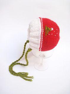 CHRISTMAS Hat, Newborn Christmas Hat, Baby Christmas Bonnet, Baby Photo Prop Hat,