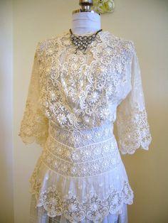 Absolutely STUNNING Ivory 1900 Edwardian IRISH Lace Detailed Graduation Dress - Irish Lace Panels Elegant Layers Magnificent Cut. $575.00, via Etsy.