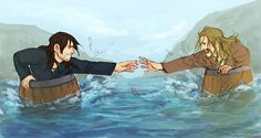 "paddle this... (Kili and Fili, ""Barrels Out of Bond"")... but where's your PFDs?"