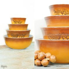 Vintage Pyrex Mixing Bowl Set // Old Orchard Mixing by Aligras, $29.00