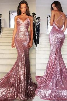 Formal Dress Prom Dress Mermaid Long Rose Pink Prom Party Dresses Sequins Spaghetti Strap Evening Gowns