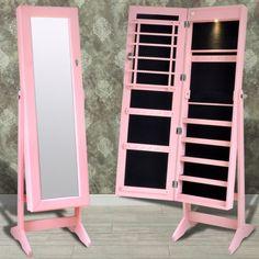 Pink Jewellery Cabinet w Mirror Door and LED Light   Buy Mirror Jewellery…