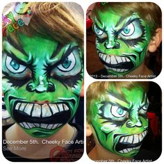 Hulk / monster face painting By Cheekyface.com.au