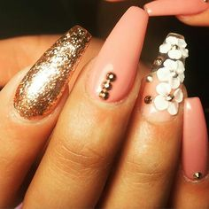 Clear / embedded white flowers are a nice idea do a wedding accent nail.