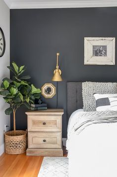 Top-notch Master bedroom remodel,Bedroom remodel apartment therapy and Guest bedroom remodel ideas. Bedroom Colors, Home Decor Bedroom, Grey Wall Bedroom, Diy Bedroom, Charcoal Bedroom, Bedroom Wall Colour Ideas, Bedroom Wall Lights, Grey And Gold Bedroom, Grey Bedroom With Pop Of Color
