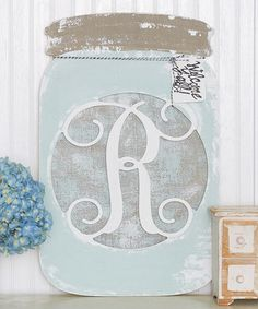 Look at this #zulilyfind! Unfinished Mason Jar Initial Wall Art #zulilyfinds