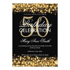Elegant 50th Birthday Party Sparkles Gold Card Invitations