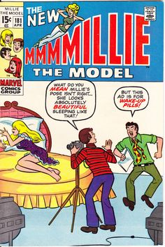Millie the Model Mod Dress, Romance, Love comic, Bombshell book, Vintage Style. 1970 Marvel Com Old Comics, Vintage Comics, Marvel Comics, Old Comic Books, Comic Book Covers, Archie Comics Characters, Millie The Model, Romantic Comics, Sub Mariner