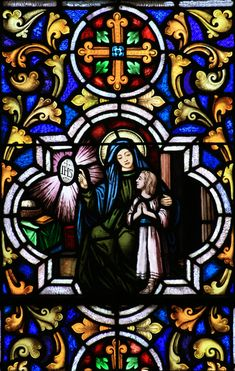 St. Monica & young St. Augustine ~ stained glass