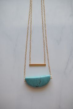 Turquoise stone necklace turquoise and gold by TheTwoHandExchange