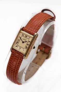 Cartier 925 Argent Leather Band RARE Vintage Ladies Watch