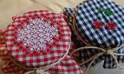 Gingham Embroidery on jar toppers