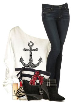 """Anchors Away"" by flowerchild805 ❤ liked on Polyvore featuring Paige Denim, Valentino, Yves Saint Laurent, Bar III and Qupid"