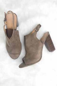 - Cute faux suede block heels - Heel height is 4 inches - Has a chunky wooden heel - Has a side ankle buckle strap