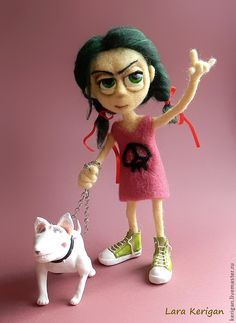 Хулиганочка - девочка,кукла,авторская кукла,собака,бультерьер,зеленые волосы