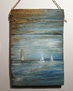 healthy breakfast ideas for picky eaters women video Boat Painting, Pallet Painting, Diy Painting, Painting On Wood, Beach Wood Signs, Wood Pallet Art, Driftwood Crafts, Beach Crafts, Pictures To Paint