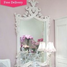 Large Antique White Carved Wall Mirror