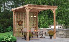 cedar privacy pergola with lattice wall Wood Pergola, Deck With Pergola, Outdoor Pergola, Pergola Plans, Diy Pergola, Pergola With Shade, Privacy Screen Outdoor, Backyard Privacy, Backyard Retreat
